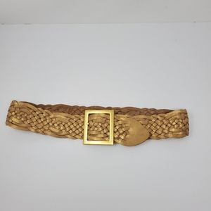 Cache gold leather braided belt w/ gold buckle